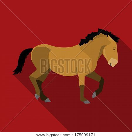 Mongolian horse. Vehicle ancient mongolov in the war.Mongolia single icon in flat style vector symbol stock web illustration.