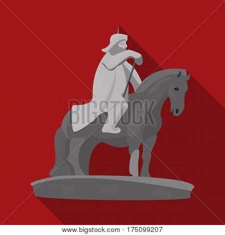 The monument to the military of Mongolia on horseback.The statue stands in Mongolia.Mongolia single icon in flat style vector symbol stock web illustration.