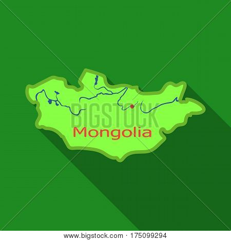 Green map of Mongolia.Mongolia on the world map.Mongolia single icon in flat style vector symbol stock web illustration.