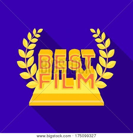 Golden statue with a wreath and inscription.The prize for best film.Movie awards single icon in flat style vector symbol stock web illustration.