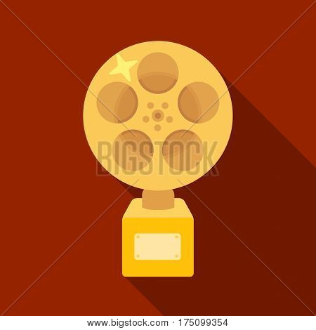 The Golden reel of film.Award for the best playback of the movie.Movie awards single icon in flat style vector symbol stock web illustration.