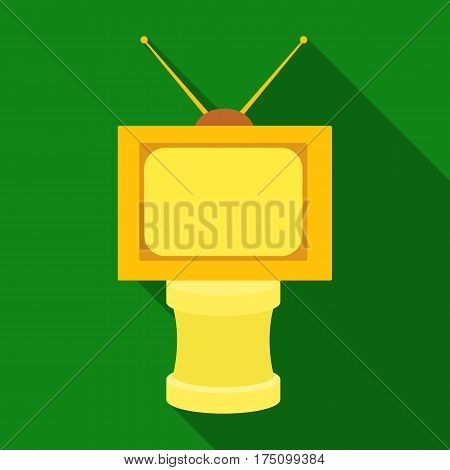 Bronze award in Famer of the TV with aerial.Trophy for best film.Movie awards single icon in flat style vector symbol stock web illustration.