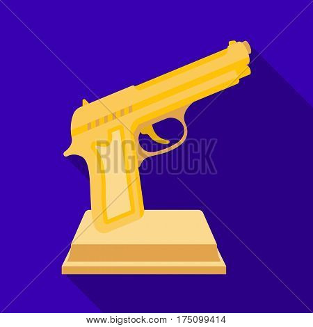 Golden gun on a stand.Award for best crime film.Movie awards single icon in flat style vector symbol stock web illustration.