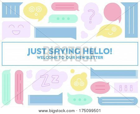 Welcome to our mailing list email banner with speech bubbles. Online community concept. Online forum concept. Chat room concept. Email or banner background vector illustration flat art.