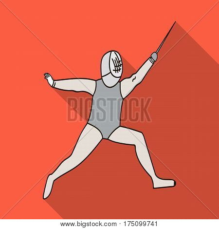 The athlete outfit with a sword.Fencing competitions .Olympic sports single icon in flat style vector symbol stock web illustration.