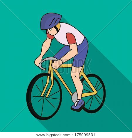 An athlete with a helmet riding his bike on the field.Cycling.Olympic sports single icon in flat style vector symbol stock web illustration.