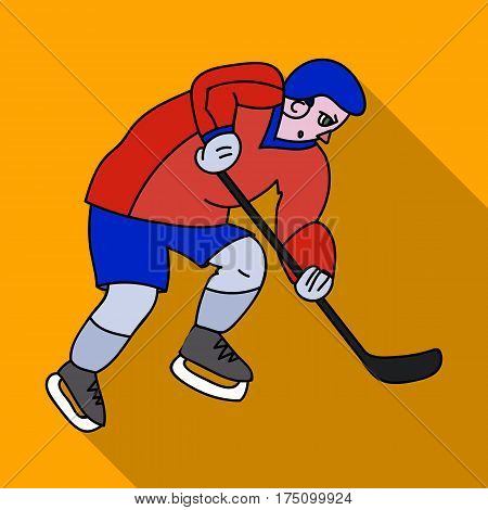 Hockey player in full gear with a stick playing hockey.Winter Olympic sport.Olympic sports single icon in flat style vector symbol stock web illustration.