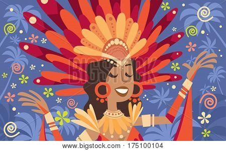 Brazil Carnival Latin Woman Wear Bright Costume Traditional Rio Party Flat Vector Illustration