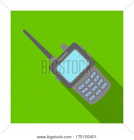 Handheld transceiver icon in flat design isolated on white background. Police symbol stock vector illustration.