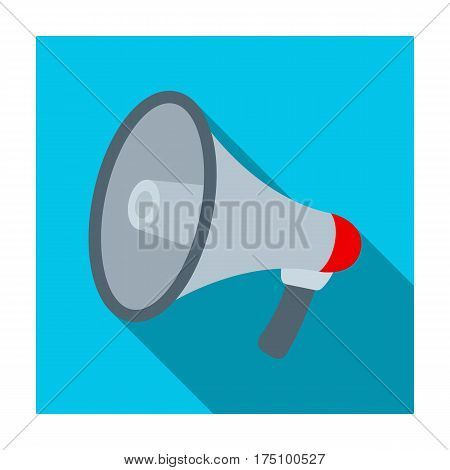 Megaphone icon in flat design isolated on white background. Police symbol stock vector illustration.