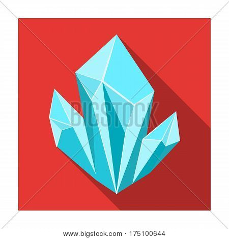 Blue natural mineral icon in flat design isolated on white background. Precious minerals and jeweler symbol stock vector illustration.
