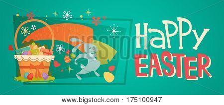 Easter Basket Holiday Symbols Greeting Card Vector Illustration