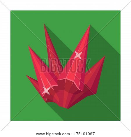 Red natural mineral icon in flat design isolated on white background. Precious minerals and jeweler symbol stock vector illustration.