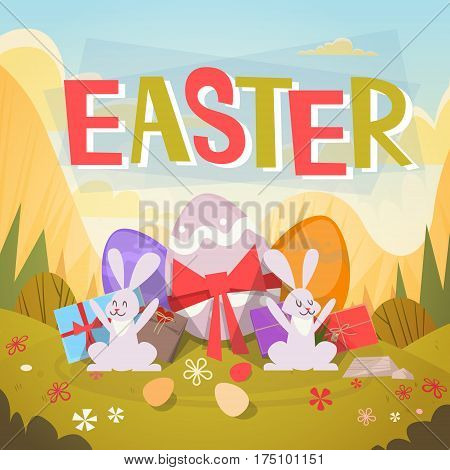 Rabbit Easter Holiday Bunny Decorated Eggs Greeting Card Flat Vector Illustration