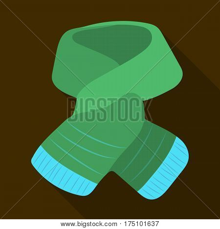 Stylish green scarf under a jacket.Scarves and shawls single icon in flat style vector symbol stock web illustration.