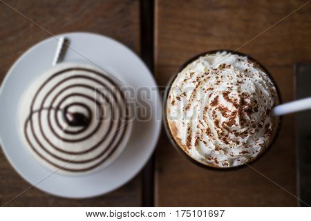 Set Of Iced Coffee And Banoffee Pie stock photo