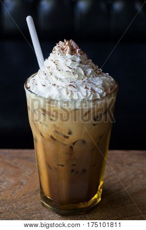 Iced Coffee With Whipped Cream On Top stock photo