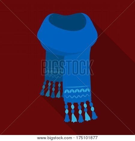 Blue felt scarf with beautiful patterns.Scarves and shawls single icon in flat style vector symbol stock web illustration.