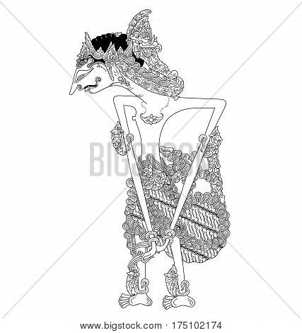 Arya Prabu, a character of traditional puppet show, wayang kulit from java indonesia.
