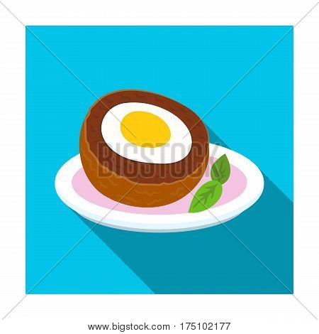 Scotch eggs icon in flat design isolated on white background. Scotland country symbol stock vector illustration.