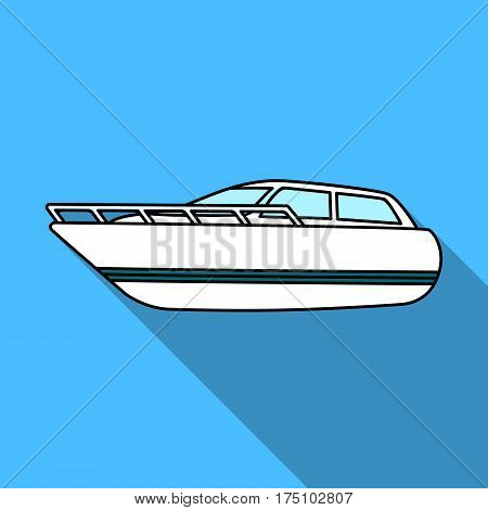 White motor boat to transport a few people.One of the types of water transport.Ship and water transport single icon in flat style vector symbol stock web illustration.