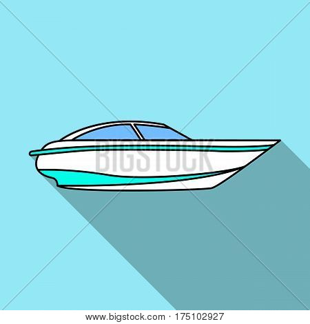 A small white boat with a motor.Boat for speed and competition.Ship and water transport single icon in flat style vector symbol stock web illustration.