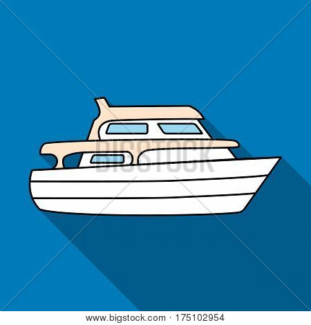 Recreational marine boat.Boat for a family holiday.Ship and water transport single icon in flat style vector symbol stock web illustration.