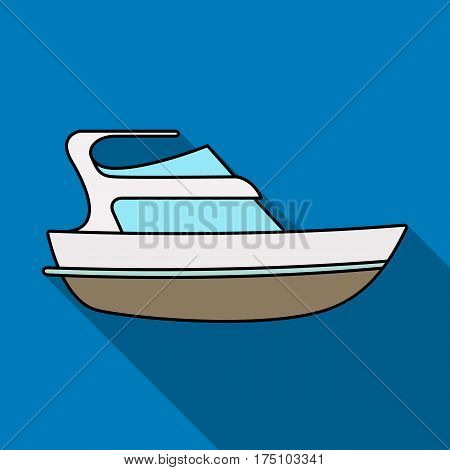 Expensive yacht for rich people.Yacht for vacations and short trips.Ship and water transport single icon in flat style vector symbol stock web illustration.