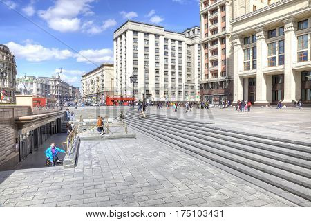 MOSCOW RUSSIA - April 24.2016: Reconstructed Manezhnaya Square Tverskaya Street and Okhotny Ryad Street