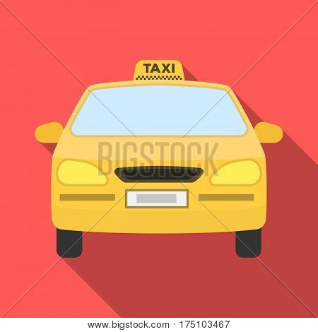 Yellow taxi car.Transport taxis for passengers. Taxi station single icon in flat style vector symbol stock web illustration.