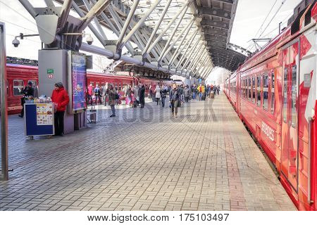 RUSSIA MOSCOW - March 24.2015: Terminal station of Domodedovo airport. Trains Aeroexpress at the station