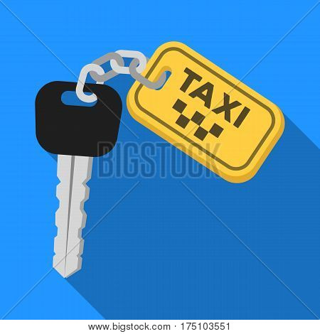 The ignition key for a yellow taxi. Taxi station single icon in flat style vector symbol stock web illustration.