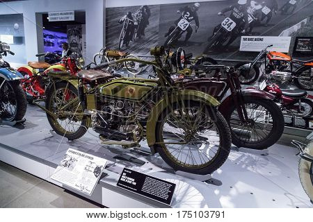 Los Angeles CA USA -- March 4 2017: Olive 1921 Harley-Davidson Model W Sport Twin at the Petersen Automotive Museum in Los Angeles California United States. Editorial only.