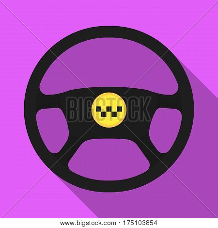 Black wheel with yellow emblem of taxi. The element to control the taxi car. Taxi station single icon in flat style vector symbol stock web illustration
