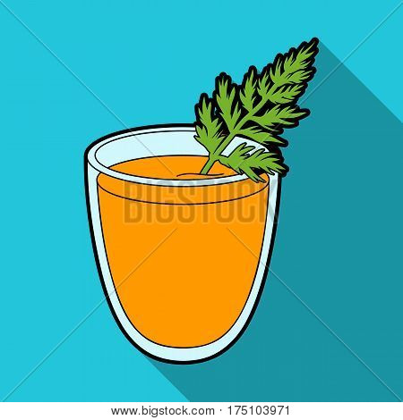 A glass with orange drink and a leaf.Healthy vegetarian carrot juice.Vegetarian Dishes single icon in flat style vector symbol stock web illustration.