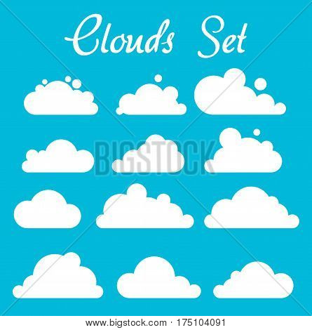 White clouds on blue background vector set eps10
