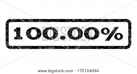 100.00 Percent watermark stamp. Text tag inside rounded rectangle frame with grunge design style. Rubber seal stamp with scratched texture. Vector black ink imprint on a white background.