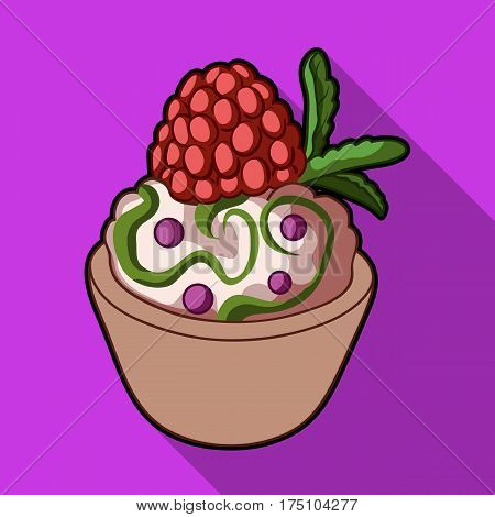 Vegetarian dessert. For vegetarians ice cream in a chocolate Cup and raspberry.Vegetarian Dishes single icon in flat style vector symbol stock web illustration
