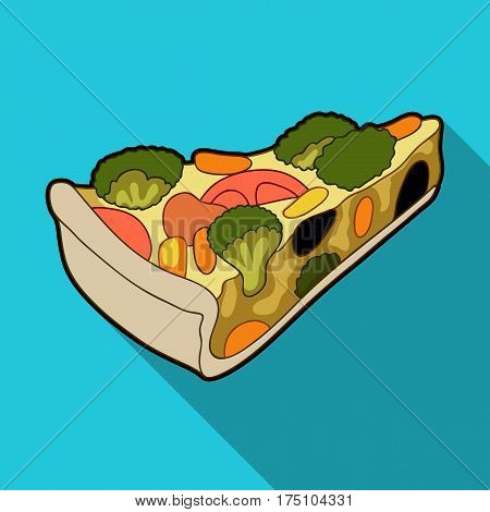 Vegetarian vegetable pie.Pie of vegetables without meat for vegetarians.Vegetarian Dishes single icon in flat style vector symbol stock web illustration.