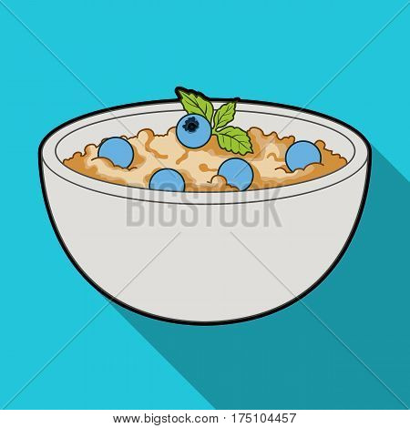 Delicious vegetarian porridge.Porridge for vegetarians blueberry.Vegetarian Dishes single icon in flat style vector symbol stock web illustration.