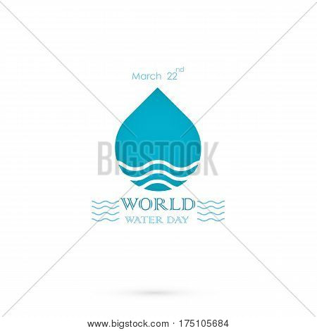 Water drop with water waves icon vector logo design template.World Water Day idea campaign for greeting card and poster.Vector illustration