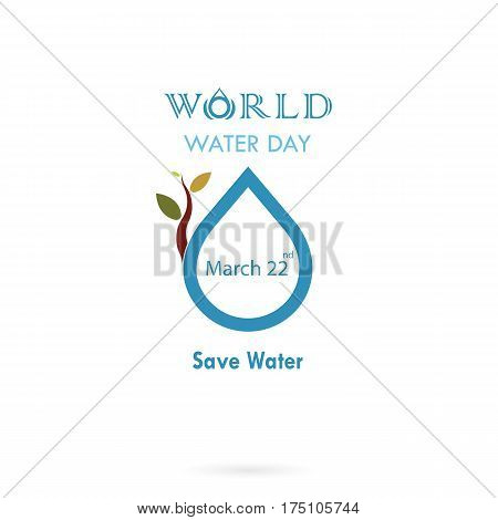 Water drop with small tree icon vector logo design template.World Water Day idea campaign for greeting card and poster.Vector illustration