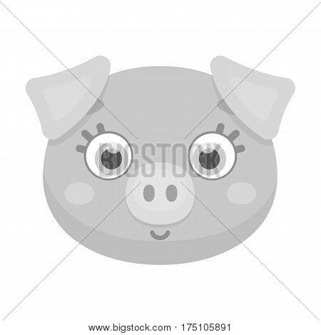 Pig muzzle icon in monochrome design isolated on white background. Animal muzzle symbol stock vector illustration.