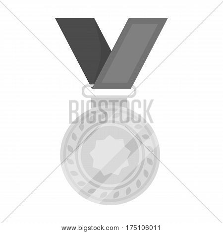 Silver medal on a red ribbon.The award for second place in the competition .Awards and trophies single icon in monochrome style vector symbol stock web illustration.
