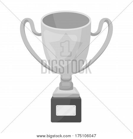 Gold Cup of the winner on a wooden stand with the inscription.The reward for first place.Awards and trophies single icon in monochrome style vector symbol stock web illustration.