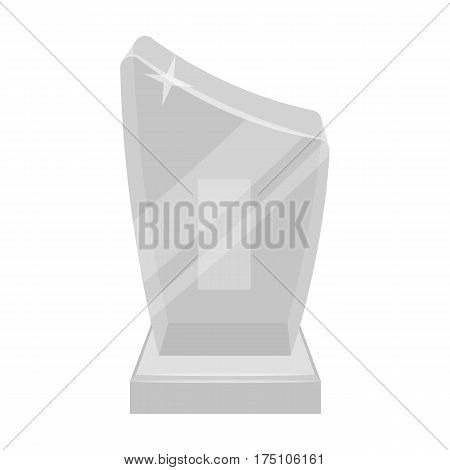 Shiny grey award.The prize for the best performance of a poem.Awards and trophies single icon in monochrome style vector symbol stock web illustration.