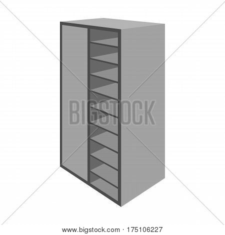 A brown wooden bookcase with many books on its shelves. Home library. Love reading. Large brown bookcase.Bedroom furniture single icon in monochrome style vector symbol stock web illustration.