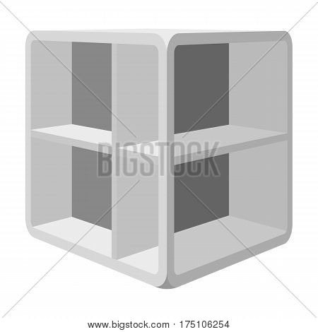Small room coffee table.White table with cells.Bedroom furniture single icon in monochrome style vector symbol stock web illustration.