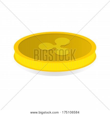 Vector illustration of a gold coin with the symbol cryptocurrency Ripple.