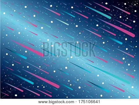 meteor shower and star with blue background ,vector